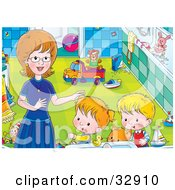 Clipart Illustration Of A Cat And Two Kids Getting Help From Mom In A Bathroom by Alex Bannykh