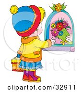 Clipart Illustration Of A Hand Giving Flowers To A Little Girl Carrying A Gift On Mothers Day