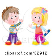 Clipart Illustration Of A Brunette Boy Holding Scissors Standing With A Blond Girl Holding A Colored Pencil