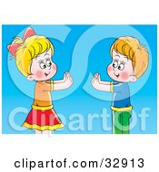 Clipart Illustration Of A Boy And Girl Playing Pat A Cake Over A Blue Background