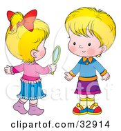 Clipart Illustration Of Two Little Blond Girls One Holding A Hand Mirror
