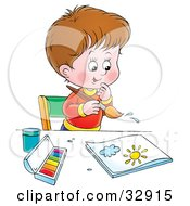 Clipart Illustration Of A Creative Little Boy Painting At A Table