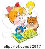 Poster, Art Print Of Cat Watching A Little Blond Girl Do Her Homework