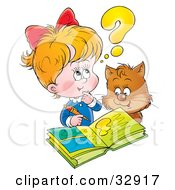 Clipart Illustration Of A Cat Watching A Little Blond Girl Do Her Homework