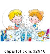 Clipart Illustration Of A Brother And Sister Making A Mess While Washing Their Hands With Soap A Cat Peeking Over The Counter