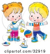 Clipart Illustration Of A Little Girl Drying Her Face With A Towel While Playing With Toys With Her Brother