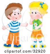 Clipart Illustration Of A Brunette Boy Holding His Arms Out While Talking To A Little Blond Girl