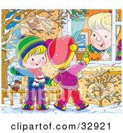 Clipart Illustration Of Two Birds In A Tree Watching Children Wave To A Woman In A Window While Playing Outside In The Snow