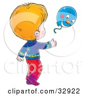 Clipart Illustration Of A Child Running After A Blue Balloon
