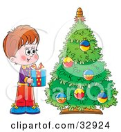 Clipart Illustration Of A Giving Boy Holding A Present By A Christmas Tree