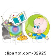 Clipart Illustration Of A Baby Boy Watching Tv With Videos On Top