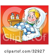 Sick Little Boy Resting In Bed On A Red Background