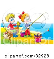 Clipart Illustration Of A Boy And Girl Having Fun While Fishing On A Beach by Alex Bannykh
