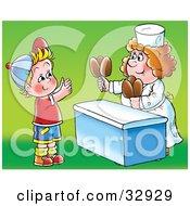 Woman Handing Fudge Pop Sickles To A Little Boy