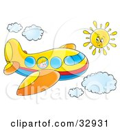 Clipart Illustration Of A Little Boy Looking Out Of A Window On A Yellow Airplane Flying Through A Sunny Sky