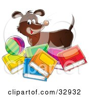 Clipart Illustration Of A Happy Brown Dog Standing With A Ball Behind Colorful Books