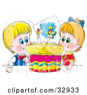 Clipart Illustration Of A Happy Boy And Girl Twins Smiling While Preparing To Blow Out Candles On Their Birthday Cake