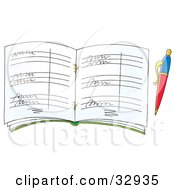 Clipart Illustration Of A Pen Resting Beside A Guest Book Or Organizer