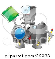 Clipart Illustration Of A Friendly Camera Character Holding A Pencil And Book