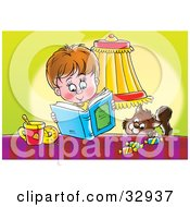 Clipart Illustration Of A Cat Trying To Sneak Candy From A Table By A Boy Reading A Book