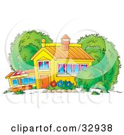 Clipart Illustration Of A School House Home Or Building With Curtains In The Windows And A Flower Garden In The Yard