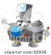 Clipart Illustration Of A Friendly Camera Character Holding A Pencil And Waving