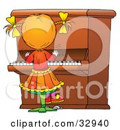 Clipart Illustration Of A Little Girl Playing A Big Piano by Alex Bannykh