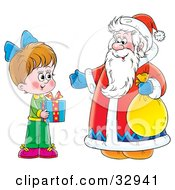 Clipart Illustration Of A Little Girl Holding A Gift And Standing With Santa