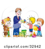 Clipart Illustration Of A Father Giving Toys And Gifts To His Children