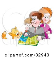 Clipart Illustration Of A Cat Watching A Mother Father And Son Writing In A Family Photo Album by Alex Bannykh