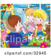 Clipart Illustration Of A Father Talking To His Son And Daughter In Their Room