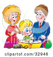 Clipart Illustration Of A Proud Mother And Father Looking At A Family Photo Album With Their Son by Alex Bannykh