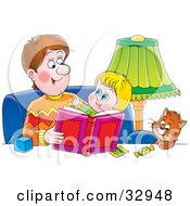Clipart Illustration Of A Father Sitting With A Cat And His Son Reading A Book by Alex Bannykh