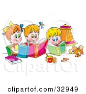 Clipart Illustration Of A Cat Watching A Boy And His Two Sisters Read Books