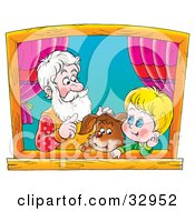 Clipart Illustration Of A Puppy Boy And Grandfather Talking And Looking Out A Window by Alex Bannykh