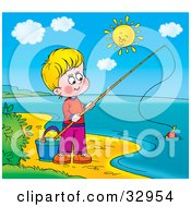 Clipart Illustration Of A Boy Fishing On The Shore Of A Still Lake On A Sunny Day