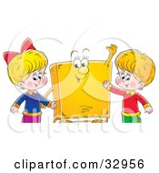 Clipart Illustration Of A Happy Boy And Girl Standing With A Yellow Book Character