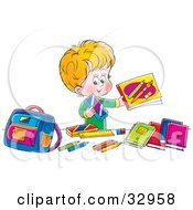 Clipart Illustration Of A Happy Blond Boy Holding Up His School Supplies