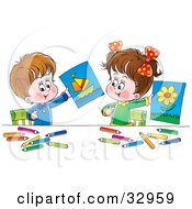 Clipart Illustration Of A Little Boy And Girl Holding Up Their Drawings Of A Flower And Boat