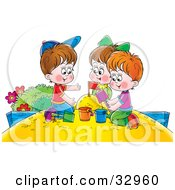 Clipart Illustration Of A Girl And Two Boys Playing In A Sand Box