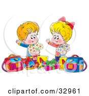 Clipart Illustration Of A Happy Boy And Girl Holding Flowers Standing With Presents And Bags