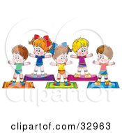 Clipart Illustration Of A Group Of Healthy Children Exercising In A Fitness Class