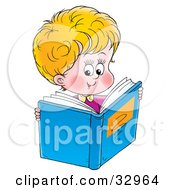 Clipart Illustration Of A Cute Little Boy Reading A Blue Book