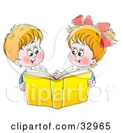 Clipart Illustration Of A Happy Brother And Sister Reading A Yellow Book Together