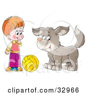 Clipart Illustration Of A Boy And Dog Playing With A Yellow Ball
