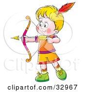 Little Blond Boy Shooting Arrows