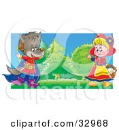Clipart Illustration Of A Girl Playing The Part Of Little Red Riding Hood And A Boy In A Wolf Costume Entertaining People During A Drama Play by Alex Bannykh