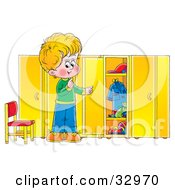Clipart Illustration Of A Blond Boy Looking At Messy Shelves In A Locker Room by Alex Bannykh