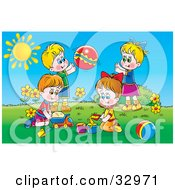 Clipart Illustration Of Two Boys And Two Girls Playing With Sand Toy Cars And A Ball Outside On A Sunny Day