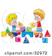 Two Brothers Playing With Toy Blocks